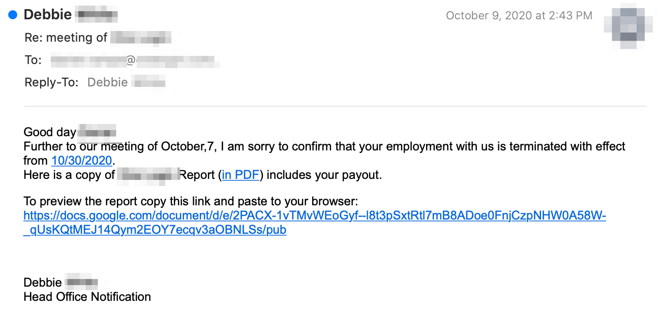 Phishing messages that threaten job security